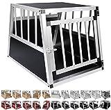 WOLTU® Alu Hundetransportbox Hundekäfig Autohundebox 1 Türig Reisebox Hundebox 69*54*51 cm Schwarz HT2060