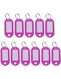 JENOR - Juego de 11 Etiquetas de plástico para Llavero, tamaño pequeño, Equipaje, Rose Pink, tamaño único