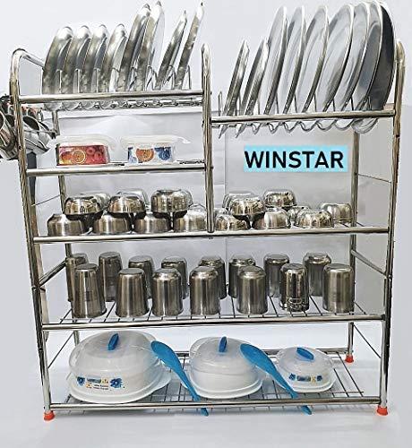 WINSTAR Stainless Steel 5 Layer Wall Mount Kitchen Dish Rack | Utensils Rack with Plate & Cutlery Stand | Modular Kitchen Storage Rack | Kitchen Organizer (30 x 31 inches)