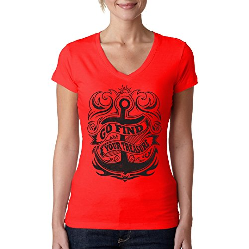 Im-Shirt - Segel Shirt: Go Find Your Treasure cooles Fun Girlie Shirt - verschiedene Farben Rot