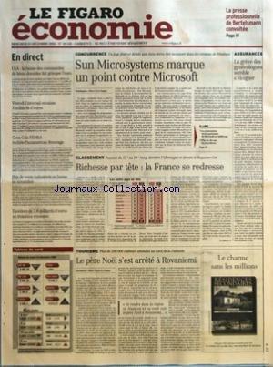 FIGARO ECONOMIE (LE) [No 18158] du 25/12/2002 - LA PRESSE PROFESSIONNELLE DE BERTELSMANN CONVOITEE - USA - LA BAISSE DES COMMANDES DE BIENS DURABLES FAIT GRIMPER L'EURO - VIVENDI UNIVERSAL ENCAISSE 3 MILLIARDS D'EUROS - COCA-COLA FEMSA RACHETE PANAMERICAIN BEVERAGE - PRIX DE VENTE INDUSTRIELS EN BAISSE EN NOVEMBRE - EXCEDENT DE 7,8 MILLIARDS D'EUROS AU TROISIEME TRIMESTRE - SUN MICROSYSTEMS MARQUE UN POINT CONTRE MICROSOFT PAR PIERRE-YVES DUGUA - LA CONTESTATION DE LA SUPREMATIE DE MICROSOFT NE