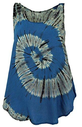 Guru-Shop Batik Top, Tank Top, Sommertop, Strandtop, Hippie Top, Damen, Blau, Synthetisch, Size:38, Tops, T-Shirts, Shirts Alternative Bekleidung