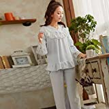 CUI Autumn and Winter Plush Pajamas Female Long-Sleeved Sweet Hollow Lace Princess Home Service Suits,Light blue,All code
