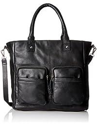 PIECES Pcnikita Leather Bag, Sacs menotte femme, Schwarz (Black), 13x35x33 cm (B x H T)