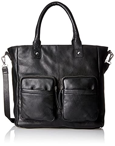 PIECES Pcnikita Leather Bag, Sacs menotte femme, Schwarz (Black), 13x35x33 cm (B x H T)