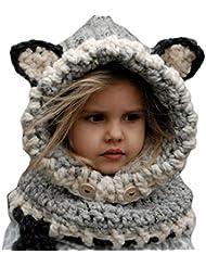 Smile YKK Bonnet Renard bébé Enfant Cagoule Tricot Chapeau d'Hiver Cache Cou Oreilles Capot