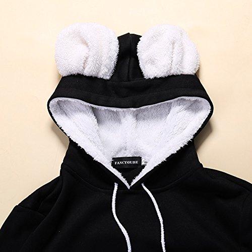 Wangyue Frauen Niedliche Känguru Tasche Hoodie Langarm Pullover Sweatshirt Schwarz01 M - 7