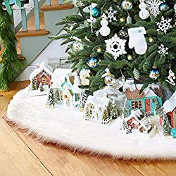 Surfmalleu Falda Blanca de Árbol de Navidad de Decoración Felpa de Papá Noel con Largo Pelo Suave Felpa Ornamentos de Árbol de Vacaciones Piel Sintética de Lujo Cubierta de Base del Árbol (122cm)