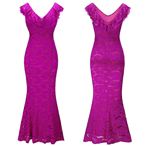 Ära Kleider Viktorianischen Kostüm - Babao Damen Sexy V-Ausschnitt Lace Slim Abendkleid