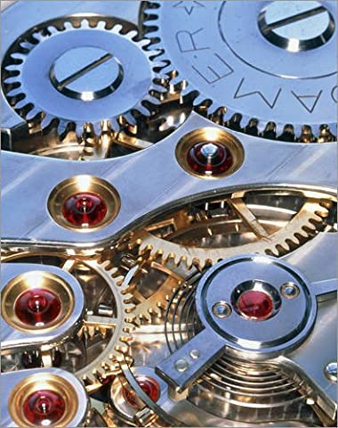 Impression sur bois 40 x 50 cm: Internal cogs and gears of a 17-jewel Swiss watch de David Parker / Science Photo Library