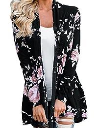 LMMVP Cardigan Femme, Femmes Manche Longue Veste à Fleurs Kimono à Devant Ouvert Pardessus Cardigan Décontracté
