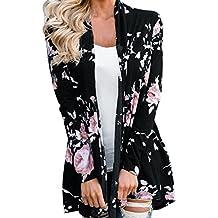 119b85299ded6 LMMVP Cardigan Femme, Femmes Manche Longue Veste à Fleurs Kimono à Devant  Ouvert Pardessus Cardigan