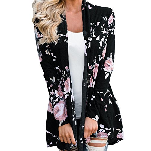 Cardigan Femme,LMMVP Femmes Manche Longue Veste à Fleurs Kimono à Devant Ouvert Pardessus Cardigan Décontracté noir