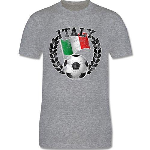 EM 2016 - Frankreich - Italy Flagge & Fußball Vintage - Herren Premium T-Shirt Grau Meliert