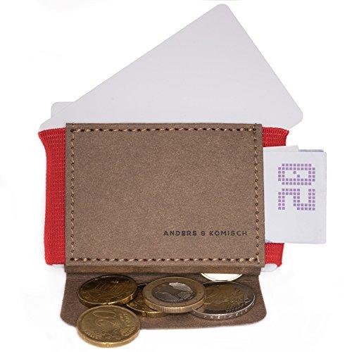 Kleiner Geldbeutel im Querformat. Mini Portemonnaie - ANDERS & KOMISCH. Minimalistische Geldbörse Portmonee klein slim wallet. Geschenk für Frauen und Männer rot/braun Armband Schlüssel-schlaufe