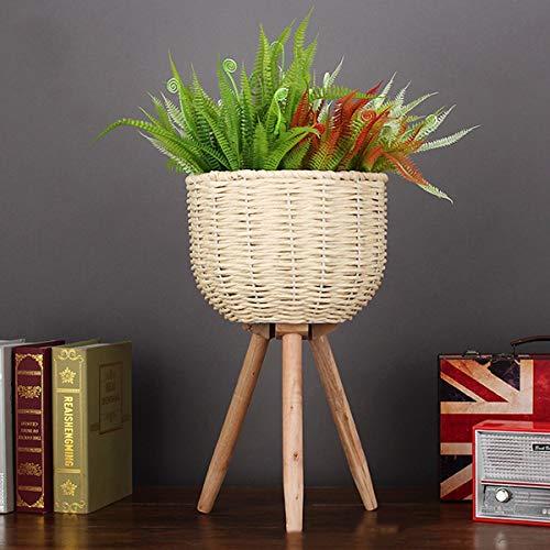 YGH Strohboden Blumentopf Handgefertigt, Holz Einfach Boutique Blumenregal, Einfache Indoor Holzbein Pflanze Display Stehen (Color : Beige, Size : 25cm) -