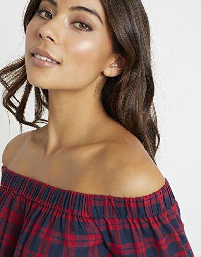 Lipsy Femme Haut Bardot À Carreaux Rouge