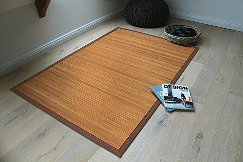 Bambusteppich GENTLE 90x160cm, 17mm Stege, breite Bordüre, massives Bambus | Bordürenteppich | Teppich | Bambusmatte | Wohnzimmer | Küche | Markenprodukt von DE-COmmerce | nachhaltig und ökologisch