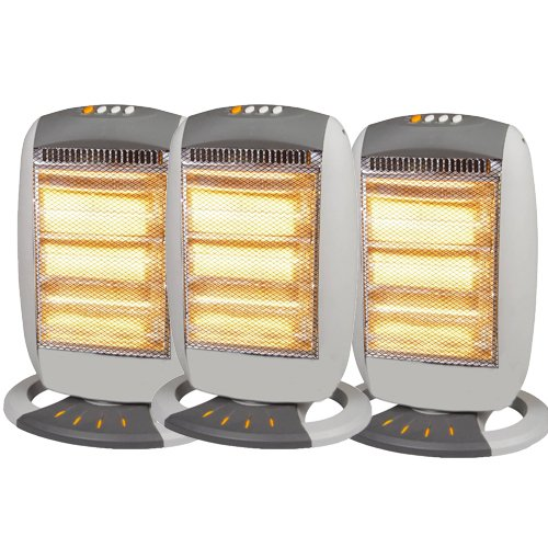 3 X HALOGEN HEATERS 400W/800W/1200W HEATER HOME OFFICE OSCILLATING ROTATING NEW