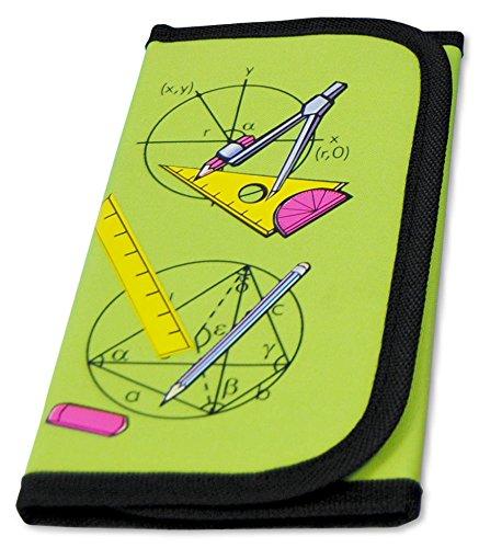 MW Handel GR Zirkel- und Mathematik-Set im praktischen Etui mit Klettverschluss, 12-teilig, grün