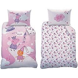 Familando Peppa Pig Peppa Pig Baby Juego de Cama tamaño 100x 135cm 40x 60cm 100% algodón Fairytale, 100% Algodón Renforcè/Linon, Rosa, 100 x 135 cm 40 x 60 cm