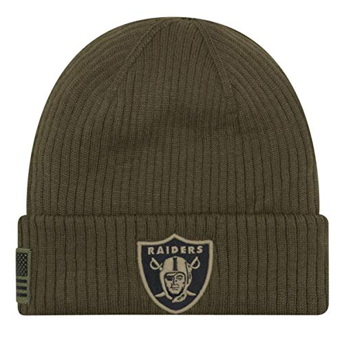 New Era Oakland Raiders Beanie On Field 2018 Salute to Service Knit Green - One-Size