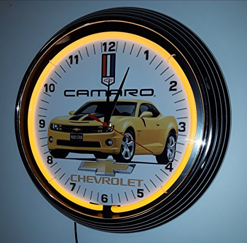 NEON CLOCK NEONUHR CHEVROLET CAMARO - TRANSFORMERS - EDITION - BUMBLE BEE-MIT ORIGINAL LICENSE PLATE! WANDUHR BELEUCHTET MIT GELBEN NEON RING ERHÄLTLICH AUCH MIT BLAUEN NEON RING! (Bumble Bee-home)
