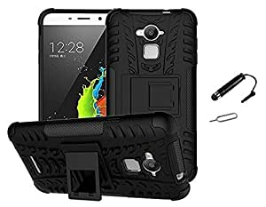 TCA Coolpad Note 3 (5.5 Inch Screen) Kickstand Hybrid Dual Armor Back Case Cover For Coolpad Note 3 - Black + Mini Stylus + Pin