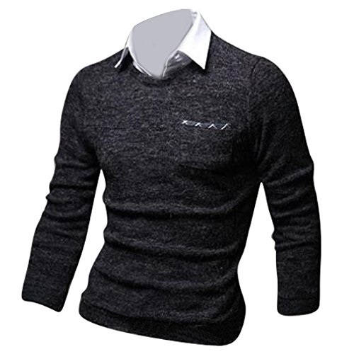 jeansian Herren Slim Fit Long Sleeves Casual Shirts Pullover Sweater 8896 Darkgray