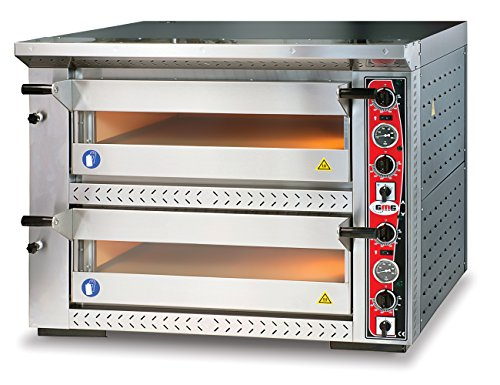 GMG Profi Pizzaofen GRANDE PG 66 DE für Gastronomie, 2 Backkammern / Doppelkammer dual - 6 + 6 x Ø 33 cm Pizzen - 67x103x15cm, bis zu 450°C (Ober- und Unterhitze getrennt regelbar), 12.000 Watt