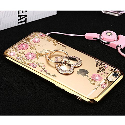 Custodia iPhone 7 Plus Glitter, iPhone 7 Plus Cover Silicone, SainCat Cover per iPhone 7 Plus Custodia Silicone Morbido, Bling Glitter Strass Diamante 3D Design Custodia in TPU Transparent Silicone Ca Doro