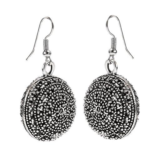 Geschnitzt Ball (Hohlen Geschnitzt Ball Ethnischen Ohrringe Retro Eardrop Für Frauen Tibetan Silber)