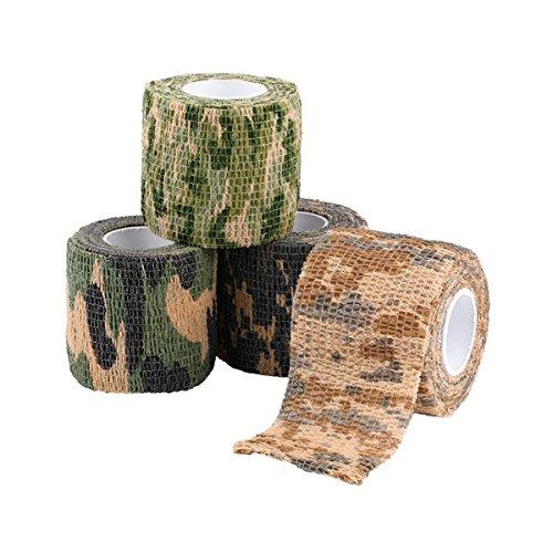Outdoor Camouflage-Klebeband,Stealth Camo Tape/Kamera Stretch Tape/ Jagd Camo Gewehr keine Kleberückstände beim entfernen, robust und wiederverwendbar/Breite 5 cm (1.96in)/Länge 4,5 m (177.16in) -