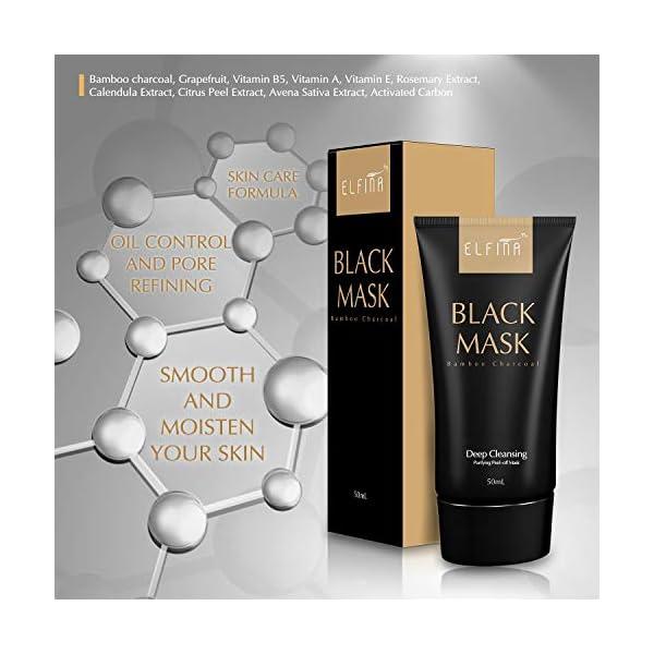 Elfina Black Mask Máscara Facial de Barro Negro, Removedor de Espinillas Rrasgón Estilo Limpieza Profunda Purificante…