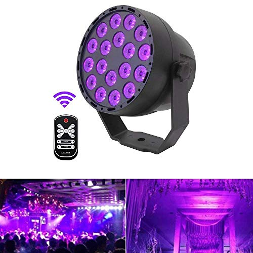 ARTKIDA UV LED Luz Negra 54W 18LEDs Violeta Luz de Escenario Proyector Impermeable Lámpara Barra Ultravioleta...