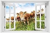 Wallario Acrylglasbild mit Fenster-Illusion: Motiv Kühe im Sommer auf der Weide - 60 x 90 cm mit Fensterrahmen in Premium-Qualität: Brillante Farben, freischwebende Optik