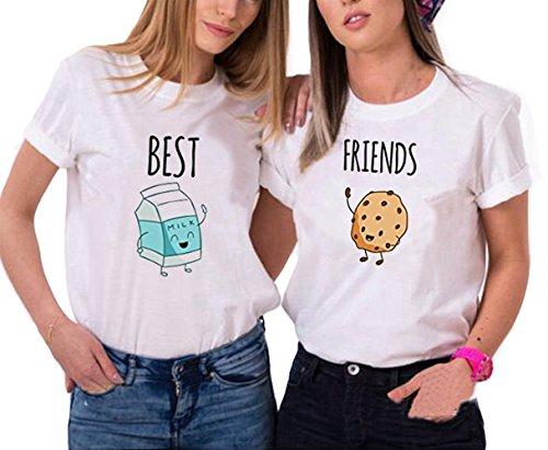 *Best Friends T-shirt Mädchen Für 2 Set Sommer Shirt Damen Weiß Oberteil Süß mit Aufdruck Milch Cookies Kurz Schwarz JWBBU® (Best-S+Friends-S, Weiß)*