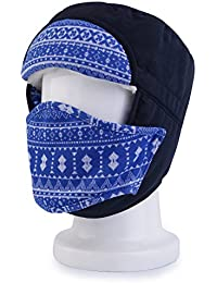 OUTAD Unisex Invierno Trapper Aviador Trooper Orejera Caliente Sombrero Gorras de invierno(azul marino)