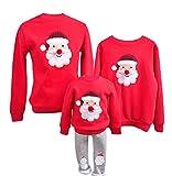 YaoDgFa Ugly Weihnachts Pullover Sweatshirt Weihnachten Xmas Sweater Kapuzenpullover Familie Bekleidung Damen Herren Kinder Weihnachtsmann Schneemann mit Rentier,  Male: S, #03 Rot