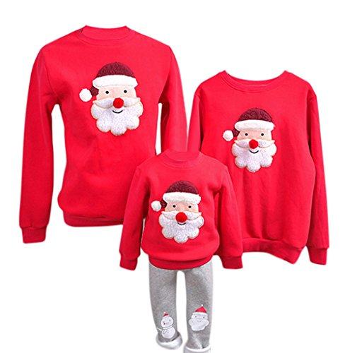 YaoDgFa Ugly Weihnachts Pullover Sweatshirt Weihnachten Xmas Sweater Kapuzenpullover Familie Bekleidung Damen Herren Kinder Weihnachtsmann Schneemann mit Rentier,  Höhe:120-130cm, #03 Rot