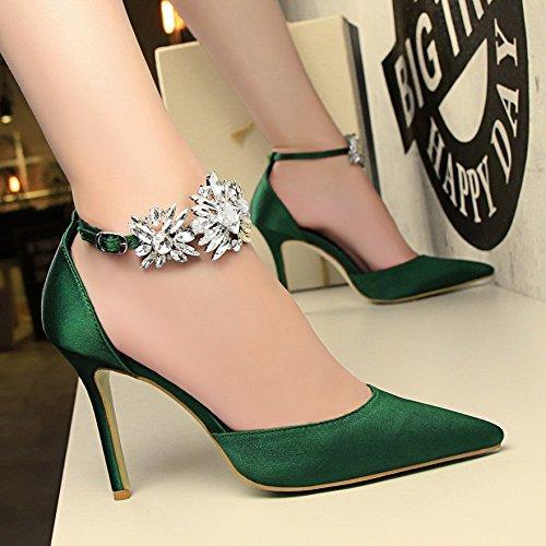 Xing Lin Chaussures DÉté Pour Les Femmes La Nouvelle Nuit DÉté A Fait High Heels Girl Avec De LEau Fine Cravate Marée Sandales Crénelé De Forage The green