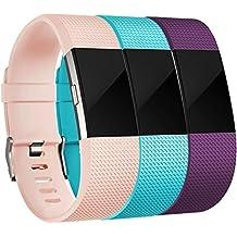 Fitbit Charge 2 Correa, HUMENN Edición Especial Deportes Recambio de Pulseras Ajustable Accesorios para Fitbit Charge 2 Pequeño #3 Rosa+Turquesa+Ciruela