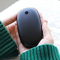 anaoo Calentador de Manos Recargable USB Powerbank 5200 mAh Banco de Energía del Bolsillo Cargador Móvil Portátil Reutilizables Buen Regalo de Moda para Mujeres Hombre en Invierno, Color Negro