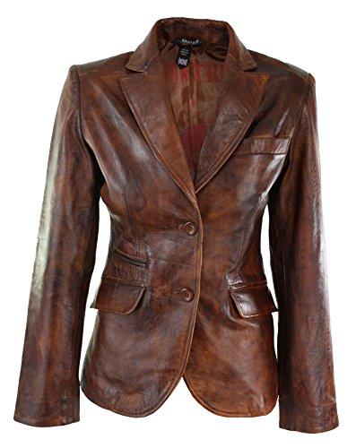 Damenjacke 100% Echtleder Braun Eng Tailliert Retro Vintage Design Braun