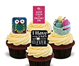 Keep Calm And Crochet on. comestible pour cupcakes – montant comestible gâteau Décorations, Pack of 24
