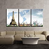 Effil Tower World Map Wall Painting 3 Panels | Multiple Frames Split Painting On 5 Mm White Sun Board | Drawing Room | Tv Wall | Office | Top Quality | Wall Decor | Home | Ready To Hang | HD Print By Paper Plane Design (Small - 16 X 30 Inch)