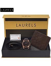 Laurels Brown Men's Wallet + Analogue Dial Men's Watch & Belt