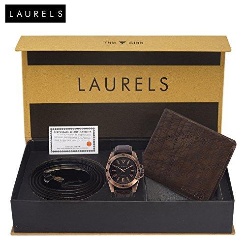 Laurels Brown Men\'s Wallet + Analogue Dial Men\'s Watch & Belt