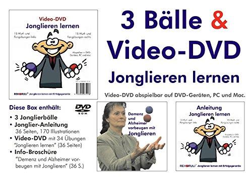 "Video-DVD ""Jonglieren lernen"" plus Broschüre ""Demenz und Alzheimer vorbeugen mit Jonglieren"" plus 3 Jonglierbälle plus Jonglier-Anleitung: Ballgröße M ... je Ball) - Ballfarben: rot - blau - weiß"