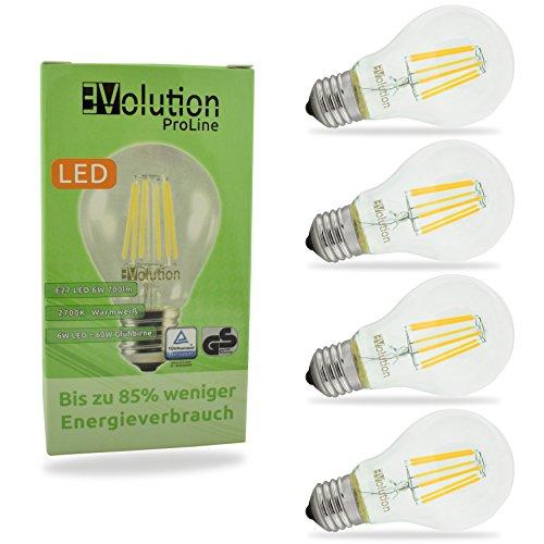 Evolution® E27 6W 700LM | Filamento LED lampadine a incandescenza | Lampada 230V AC 270 ° | Sostituzione 60W | Lampade E27 bianco caldo | Set di 4